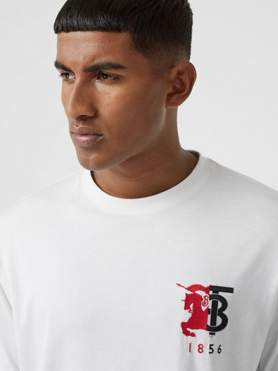 Contrast Logo Graphic Cotton T-shirt in White
