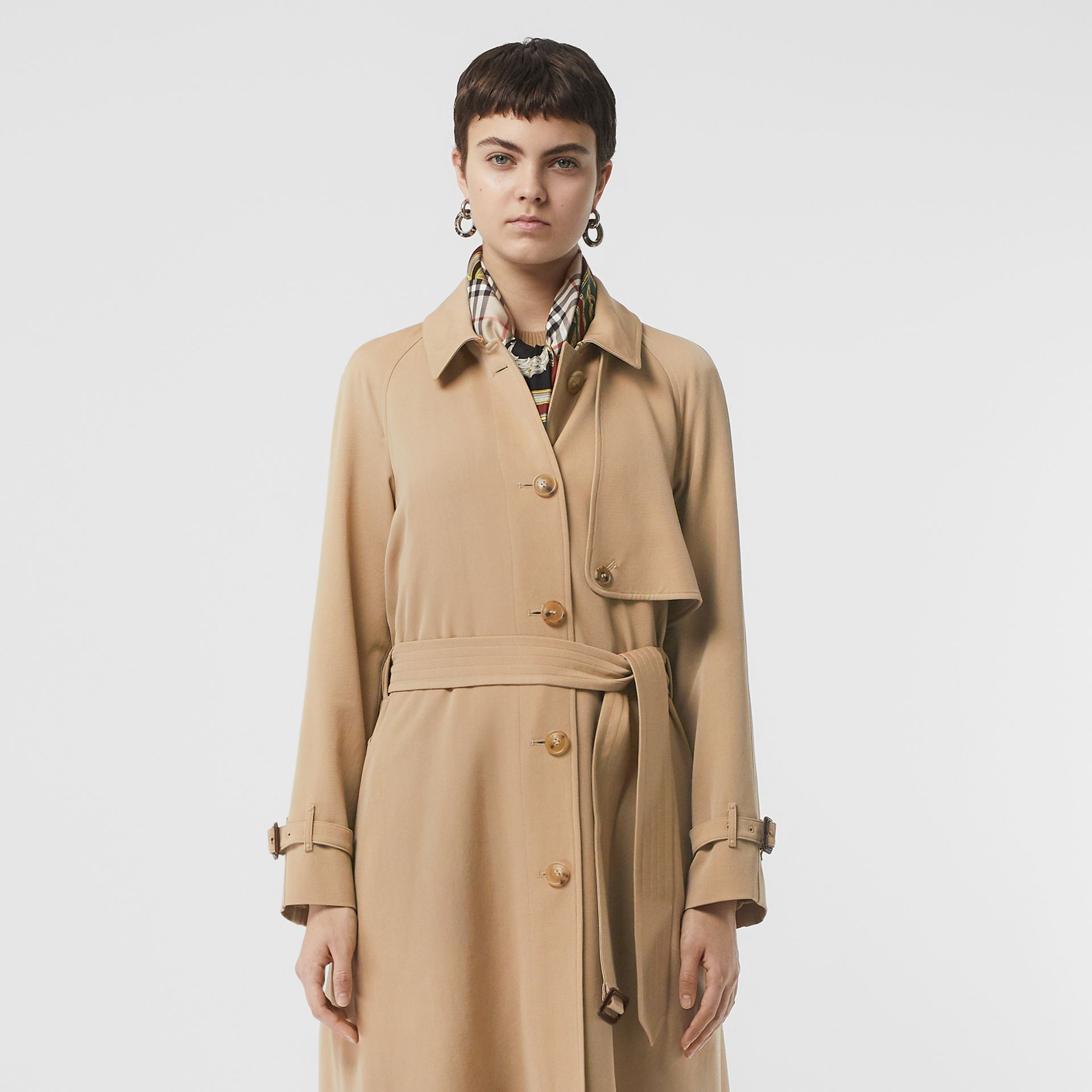 Wool Gabardine Trench Coat in Honey - Women | Burberry - gallery image 8