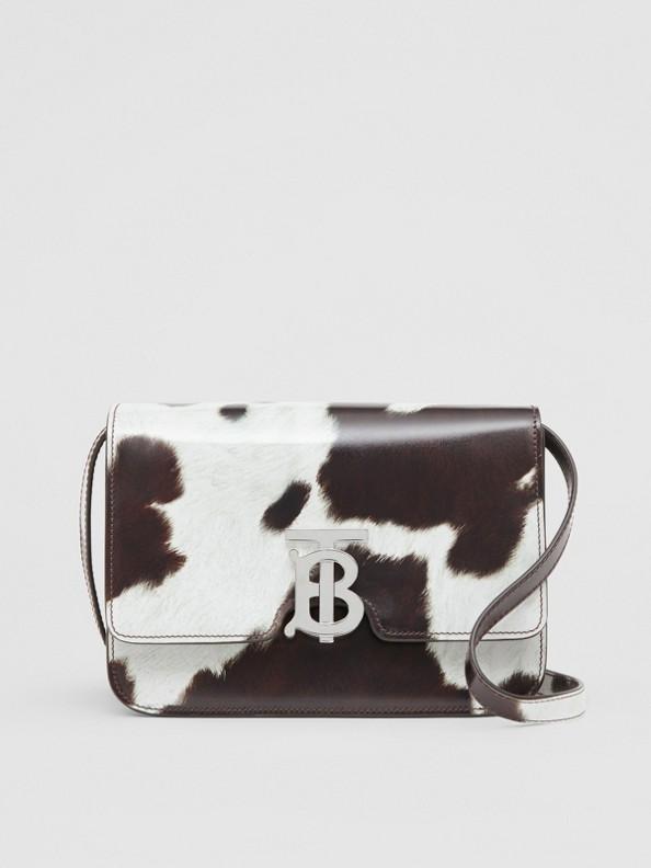 Kleine TB Bag aus Leder mit Kuhfellmuster (Mahagonirot)