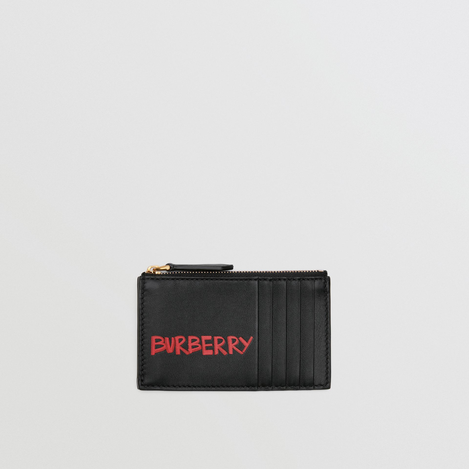 Graffiti Print Leather Zip Card Case in Black | Burberry - gallery image 0