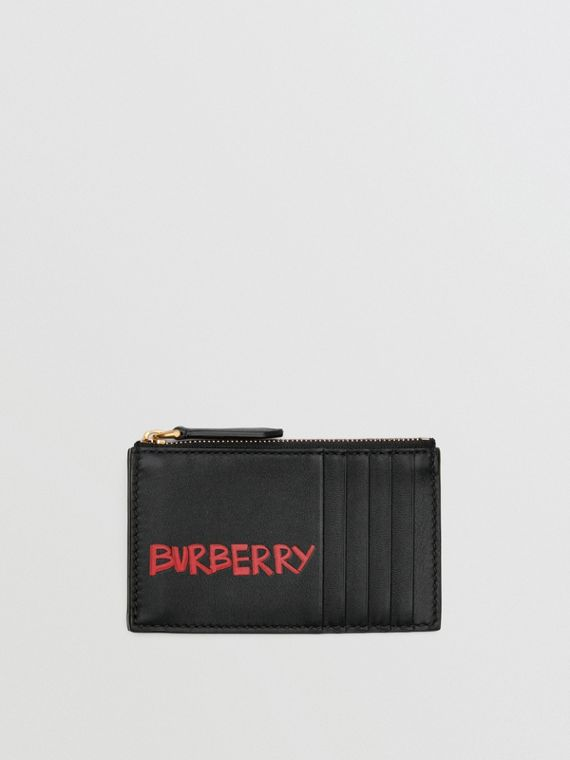 Graffiti Print Leather Zip Card Case in Black
