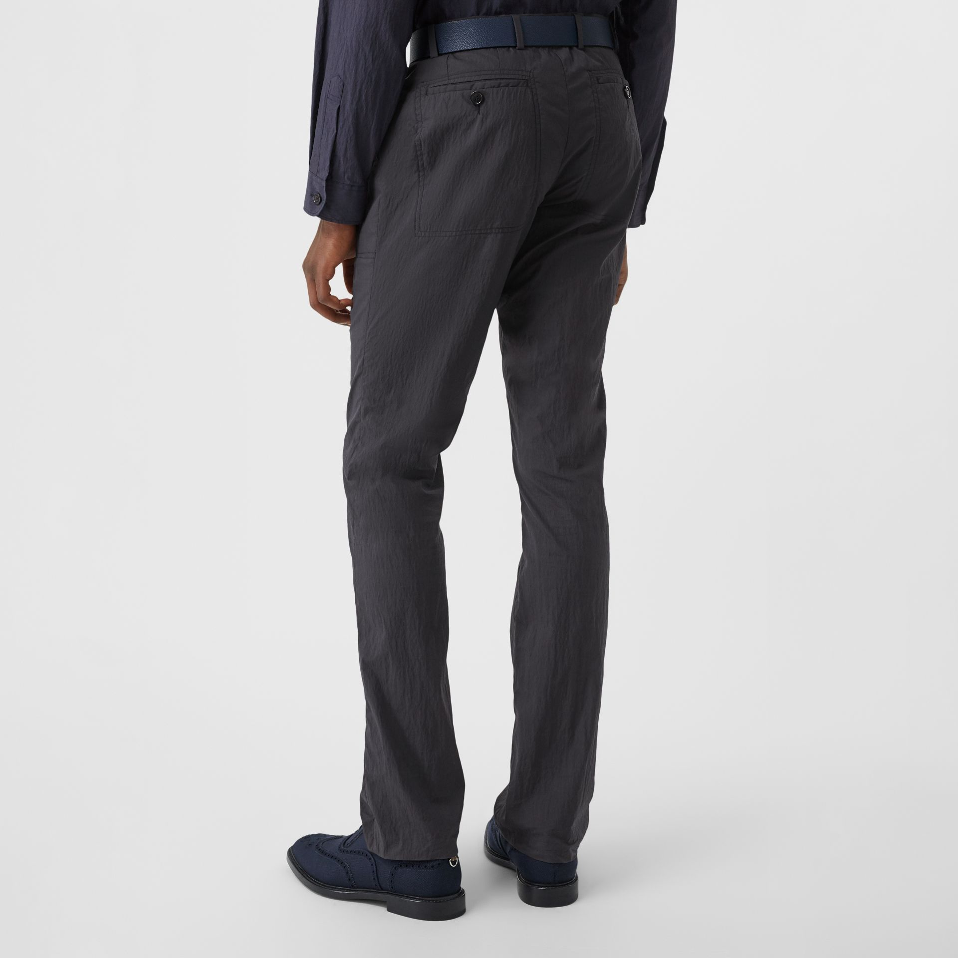 Classic Fit Cotton Blend Tailored Trousers in Navy - Men | Burberry Australia - gallery image 2
