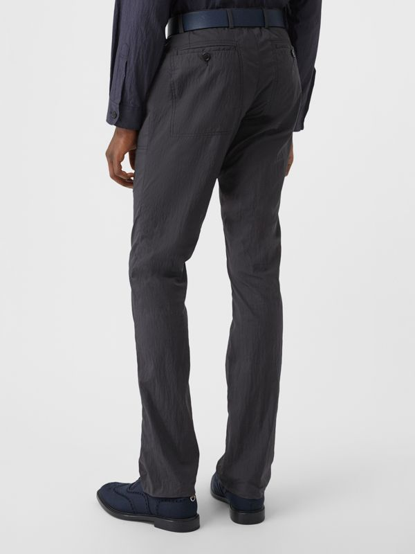 Classic Fit Cotton Blend Tailored Trousers in Navy - Men | Burberry - cell image 2