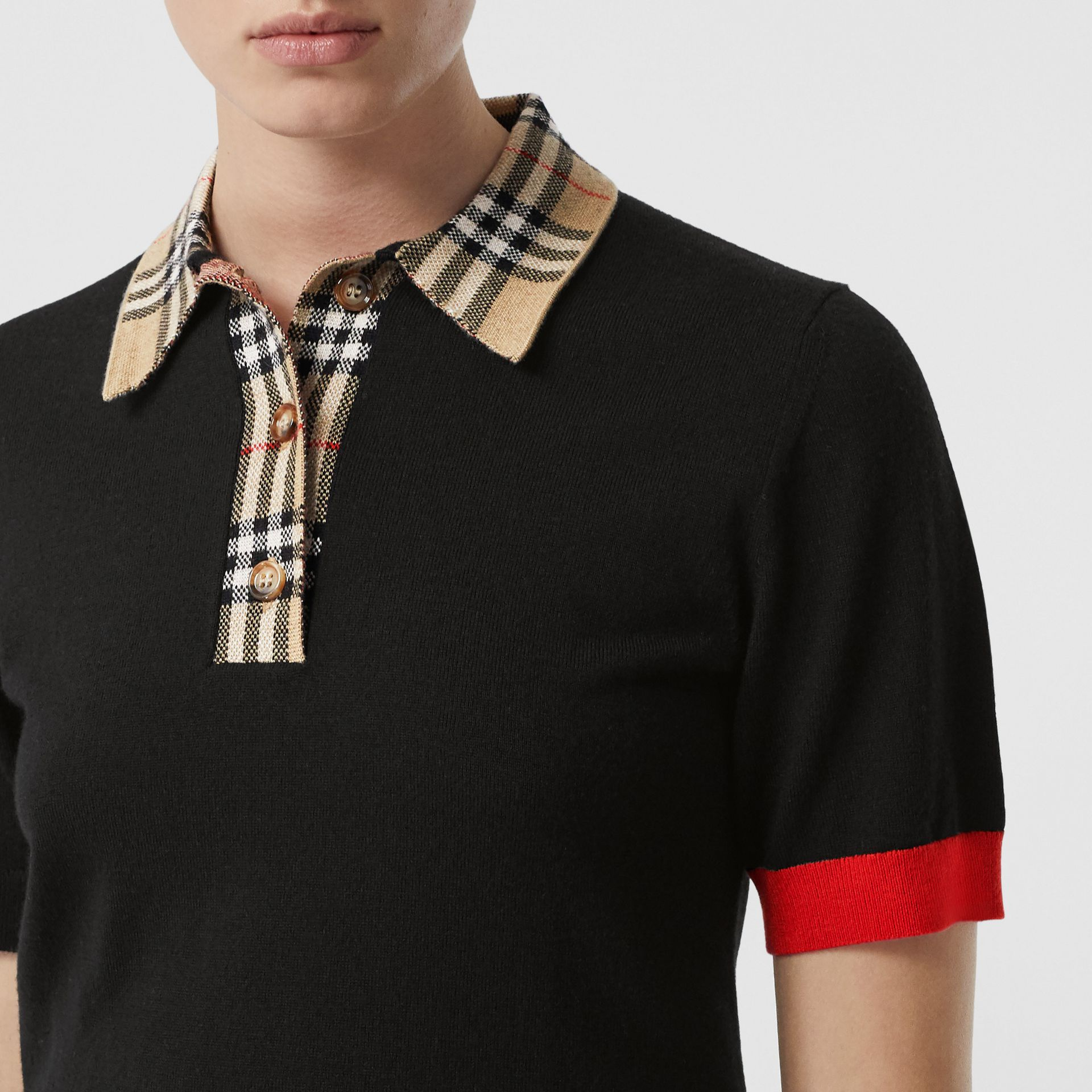Vintage Check Trim Merino Wool Polo Shirt in Black - Women | Burberry - gallery image 1