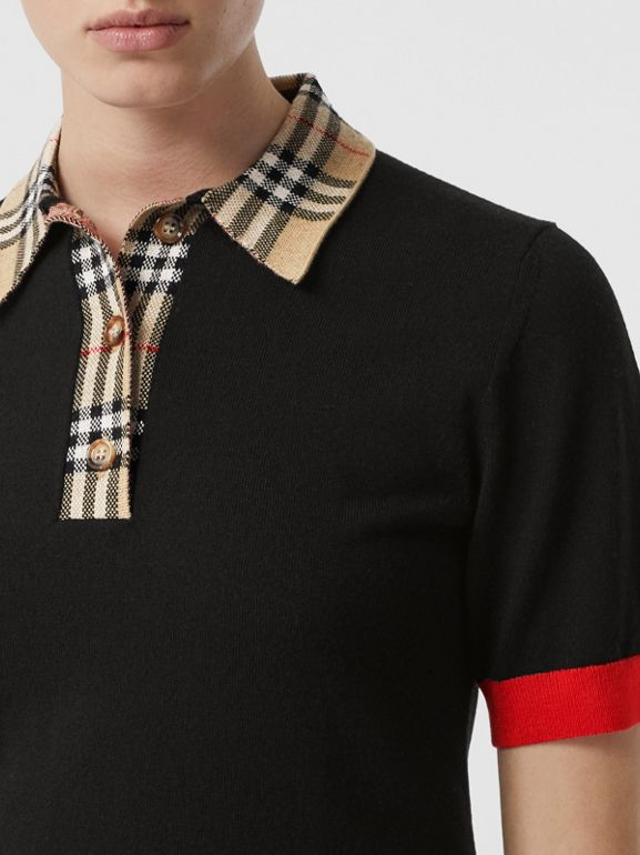 Vintage Check Trim Merino Wool Polo Shirt in Black - Women | Burberry - cell image 1