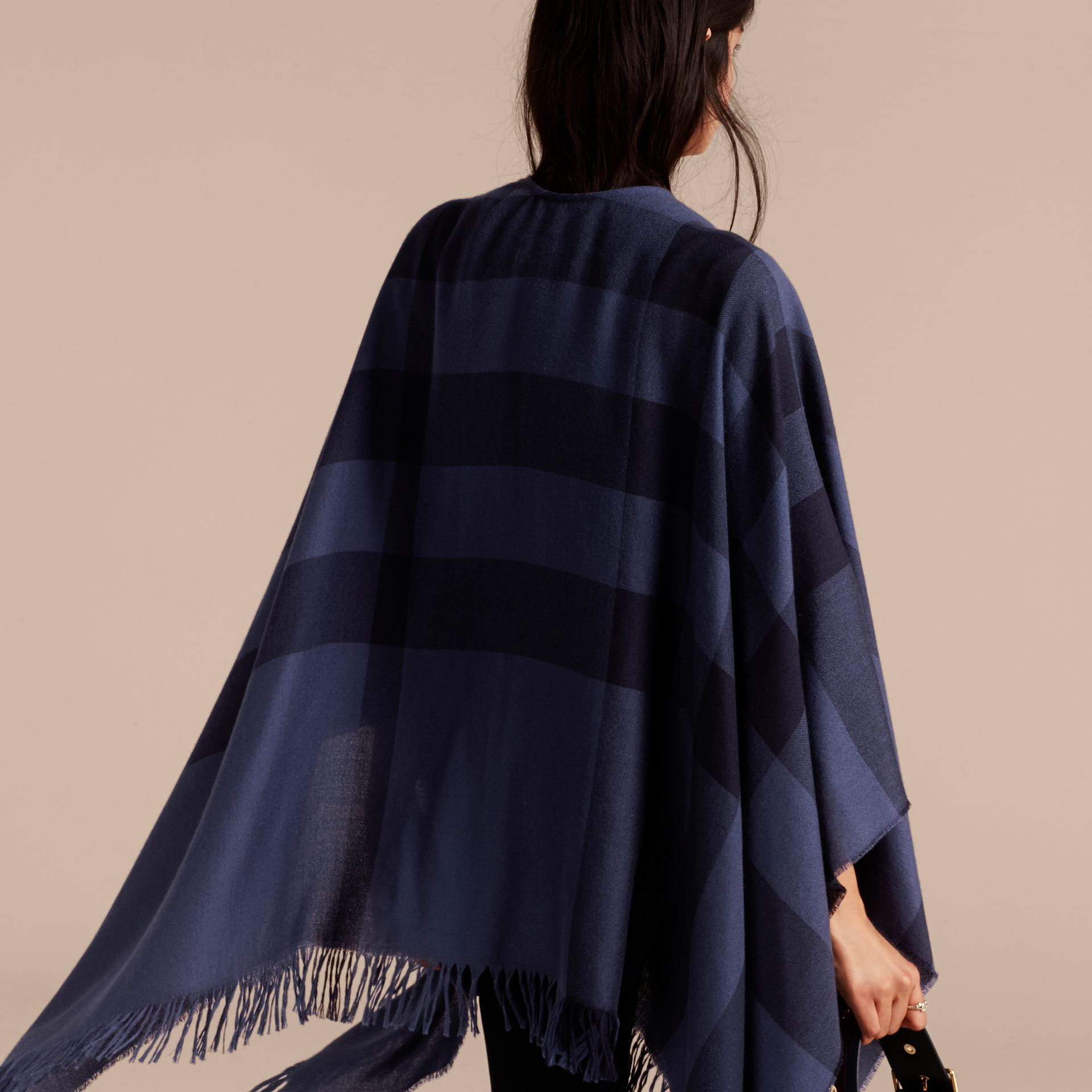 Navy Lightweight Check Cashmere Poncho Navy - gallery image 6
