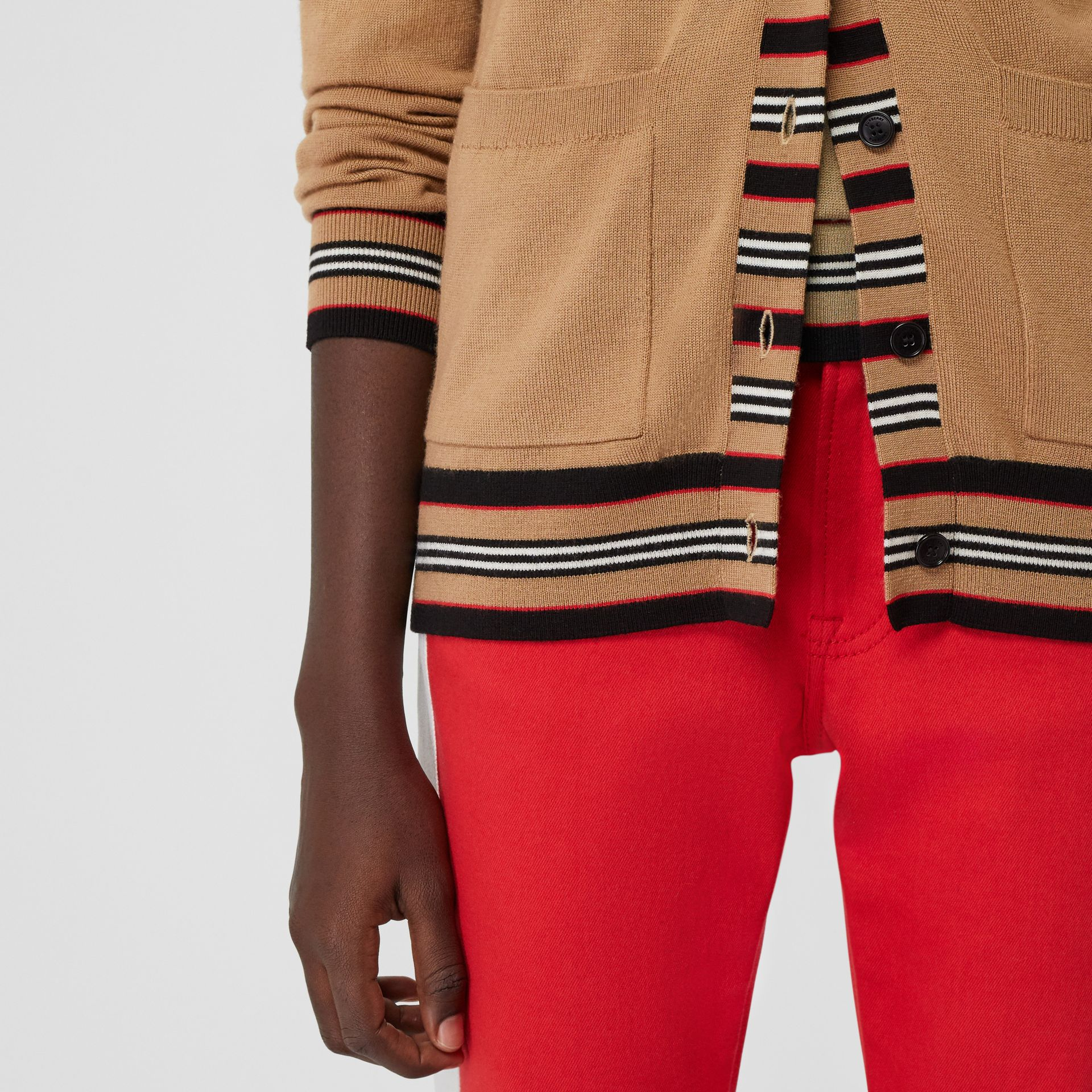 Icon Stripe Detail Merino Wool Cardigan in Camel - Women | Burberry Australia - gallery image 4