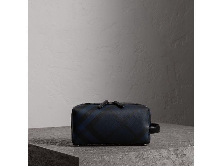 London Check and Leather Pouch in Navy/black - Men | Burberry - cell image 4