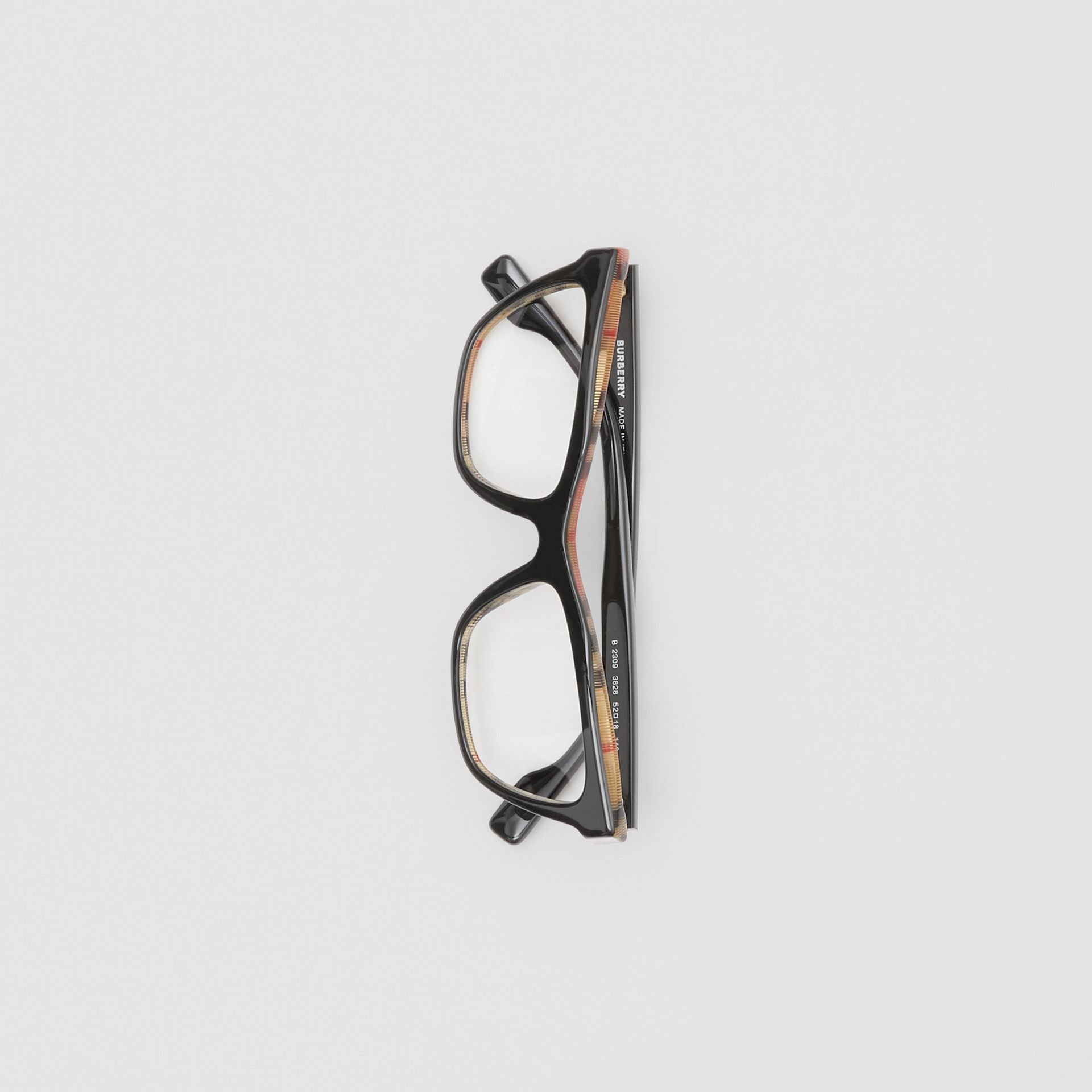 Rectangular Optical Frames in Black/beige - Women | Burberry Canada - gallery image 2