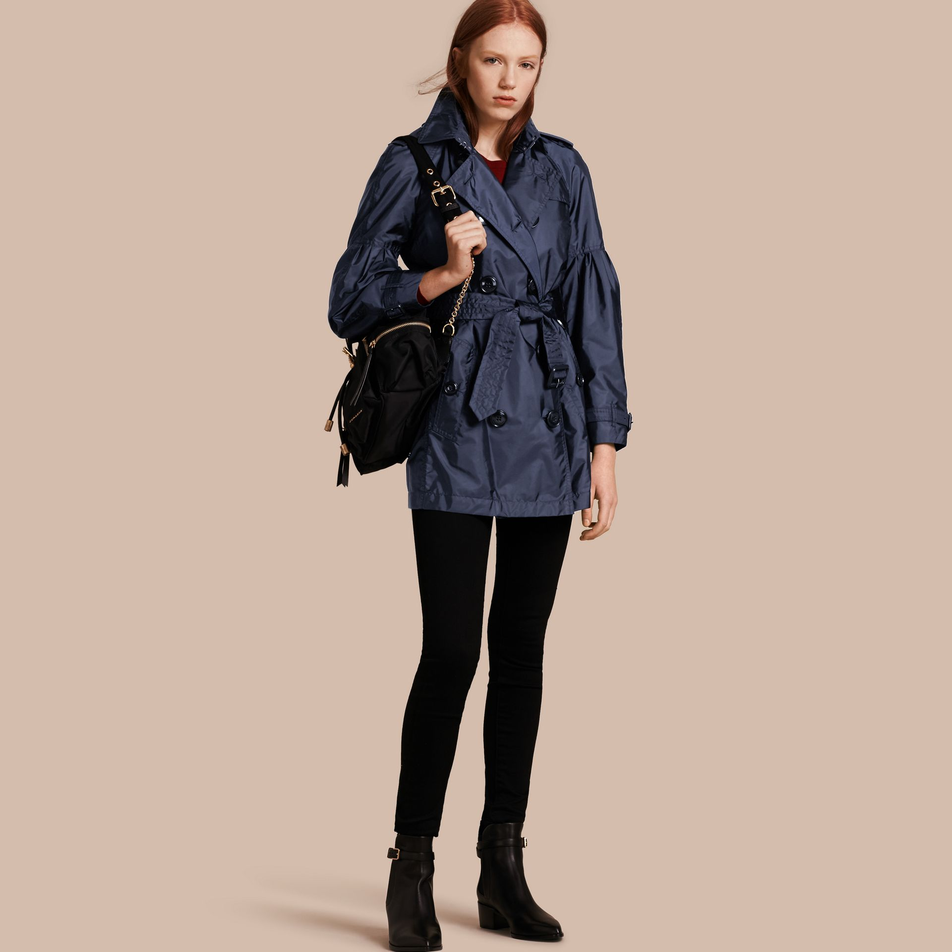 Navy Packaway Trench Coat with Bell Sleeves Navy - gallery image 1