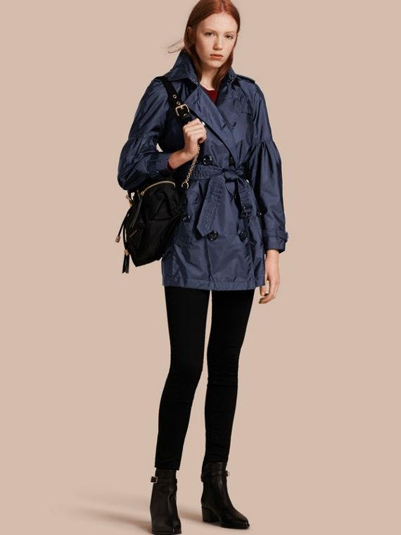 Packaway Trench Coat with Bell Sleeves Navy