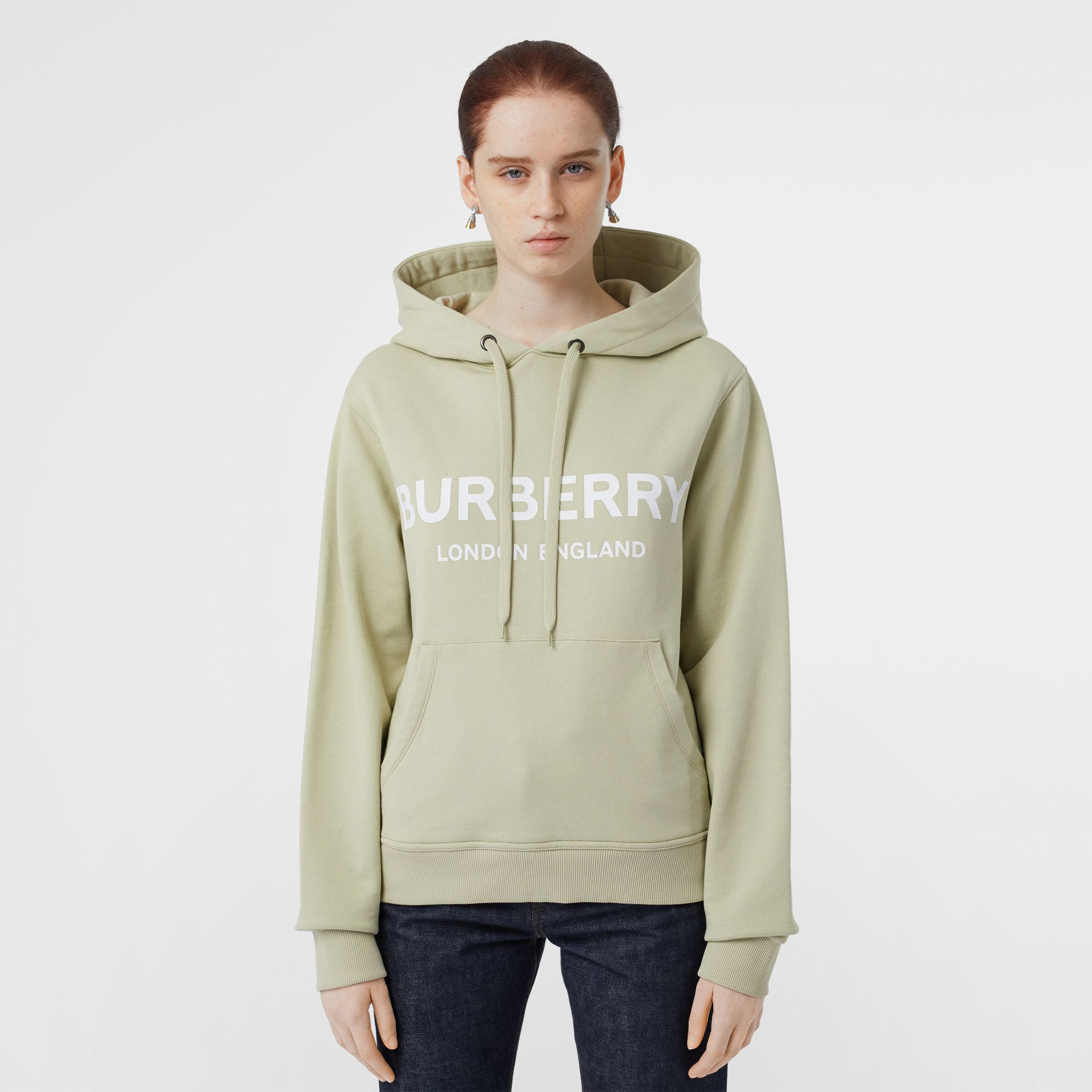 Logo Print Cotton Oversized Hoodie in Pale Apple Green - Women | Burberry United Kingdom - gallery image 0