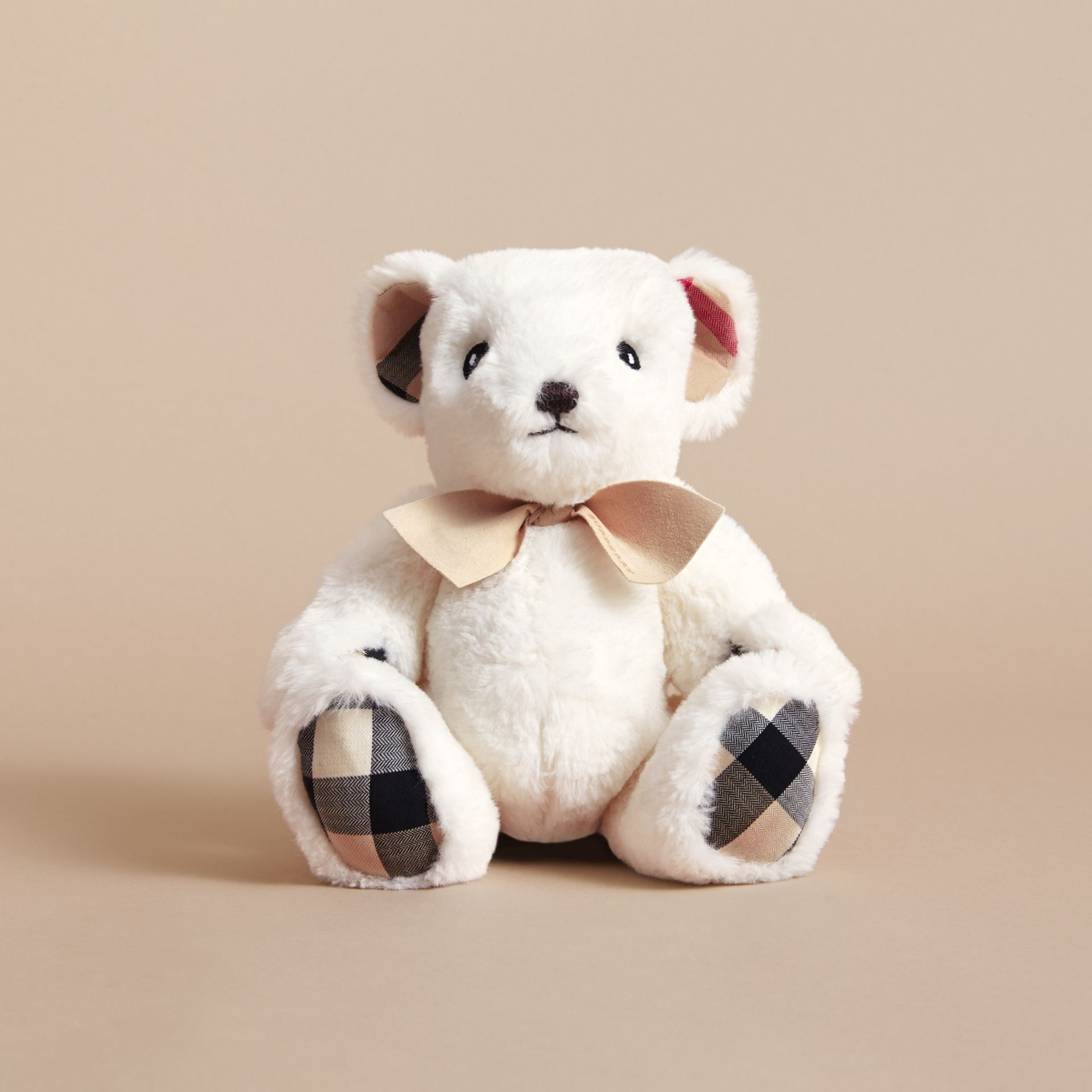 Thomas Baby Bear with Check Detail in White | Burberry - gallery image 4