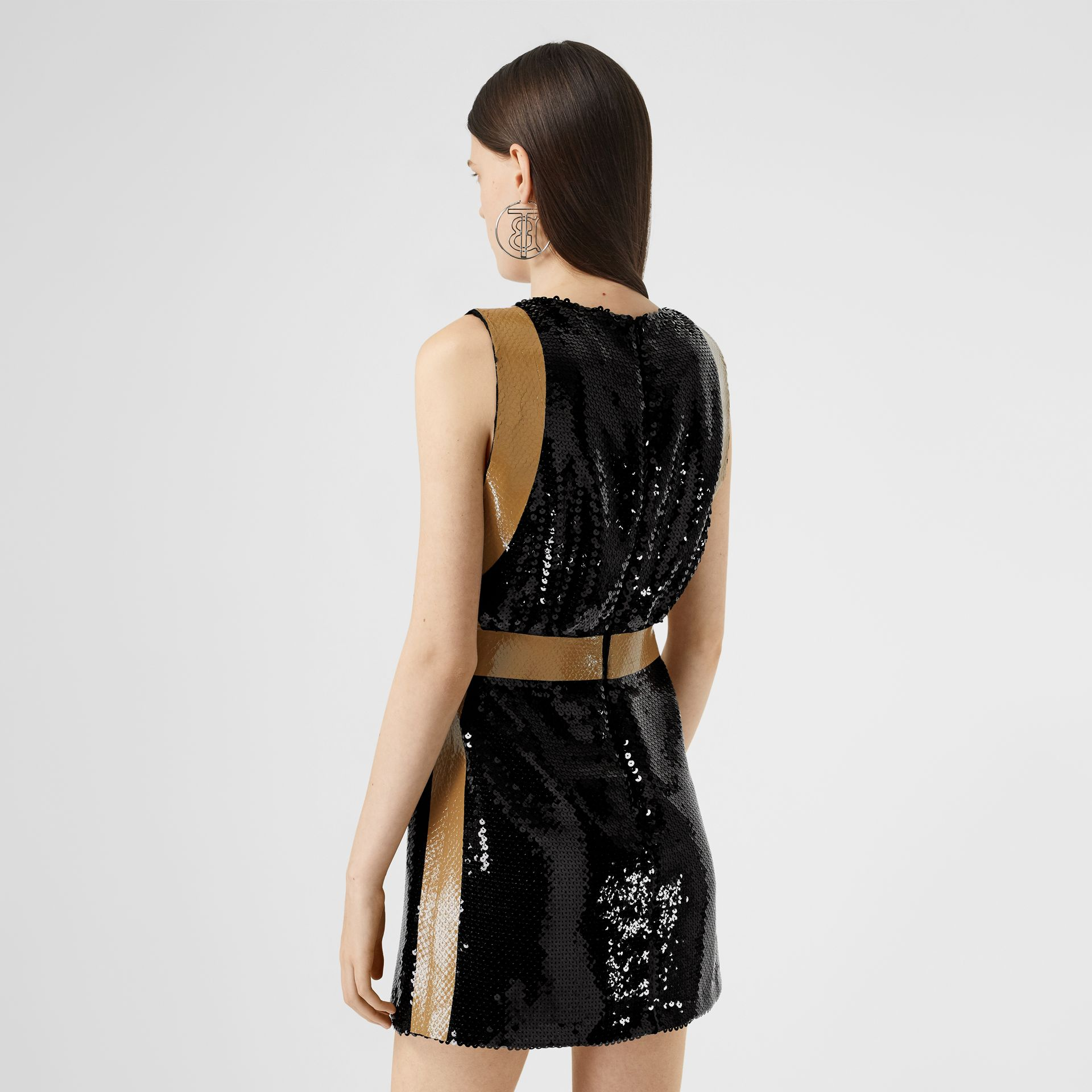 Tape Detail Sequinned Mini Dress in Black - Women | Burberry - gallery image 2