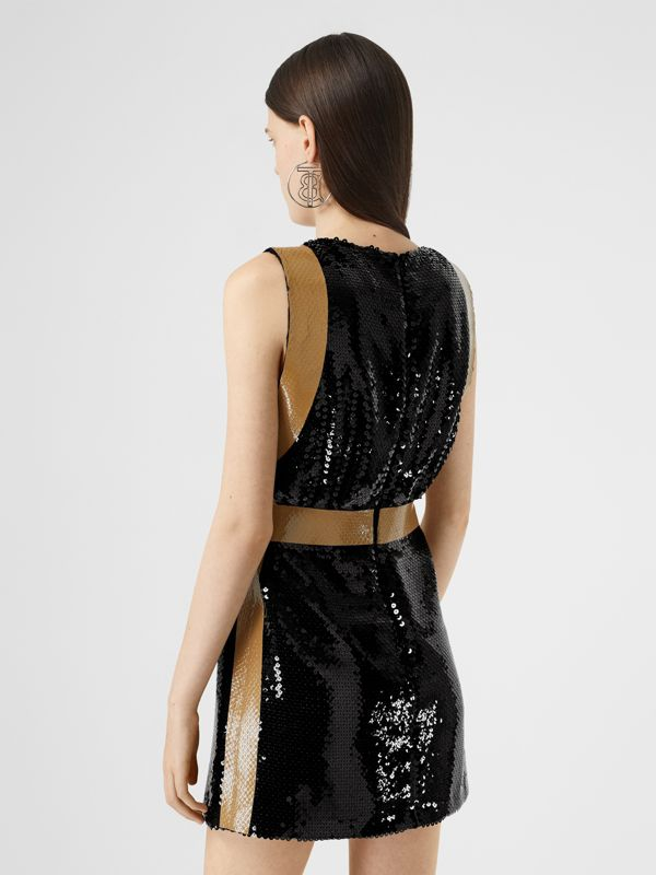 Tape Detail Sequinned Mini Dress in Black - Women | Burberry - cell image 2