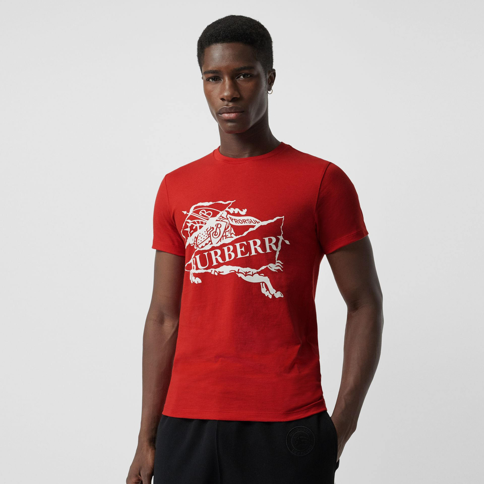 Collage Logo Print Cotton T-shirt in Military Red - Men | Burberry - gallery image 0