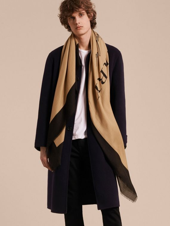 Burberry Print Cashmere Blend Scarf Camel/black - cell image 3