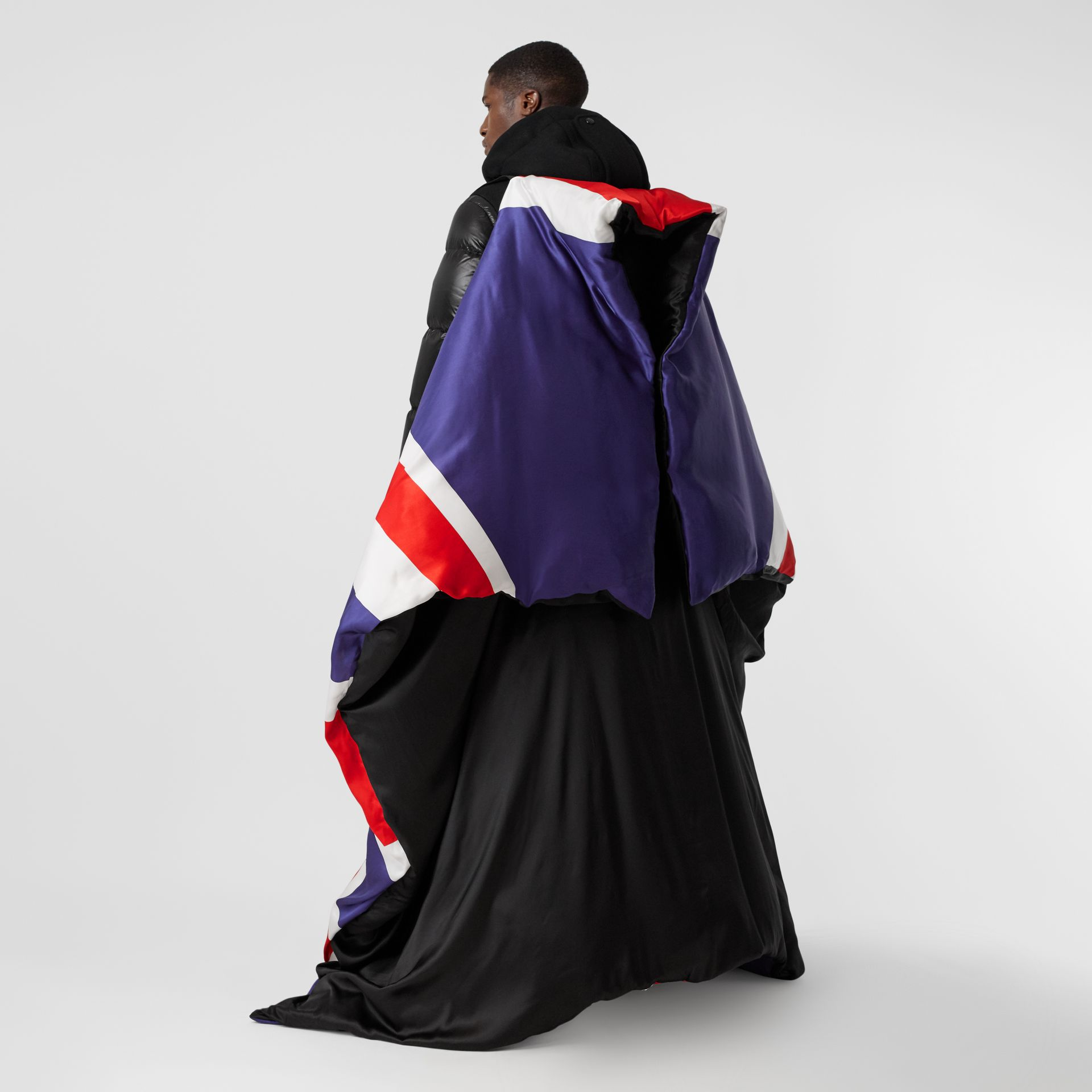 Union Jack and Logo Print Oversized Puffer Cape in Multicolour | Burberry United States - gallery image 2