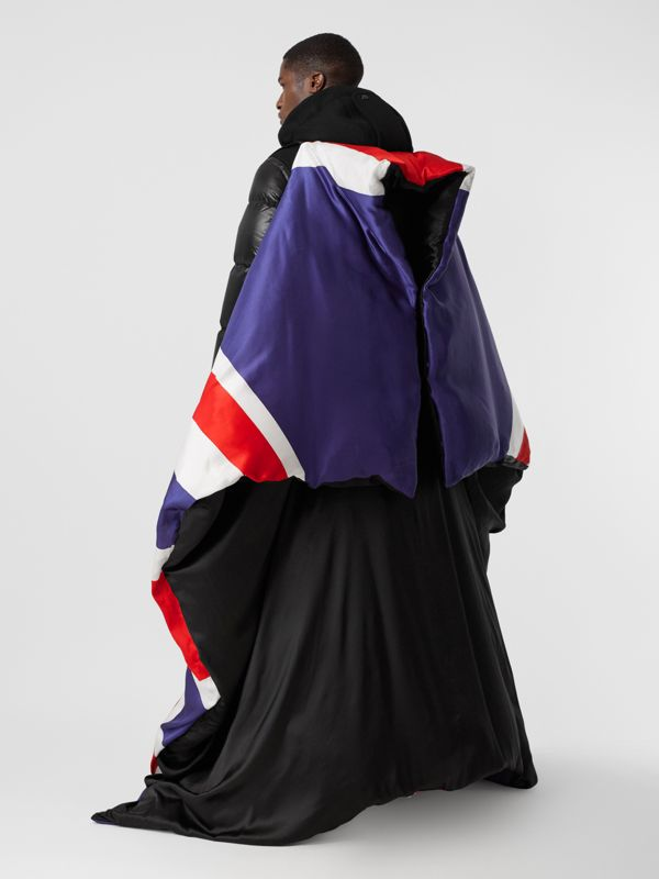 Union Jack and Logo Print Oversized Puffer Cape in Multicolour | Burberry United States - cell image 2