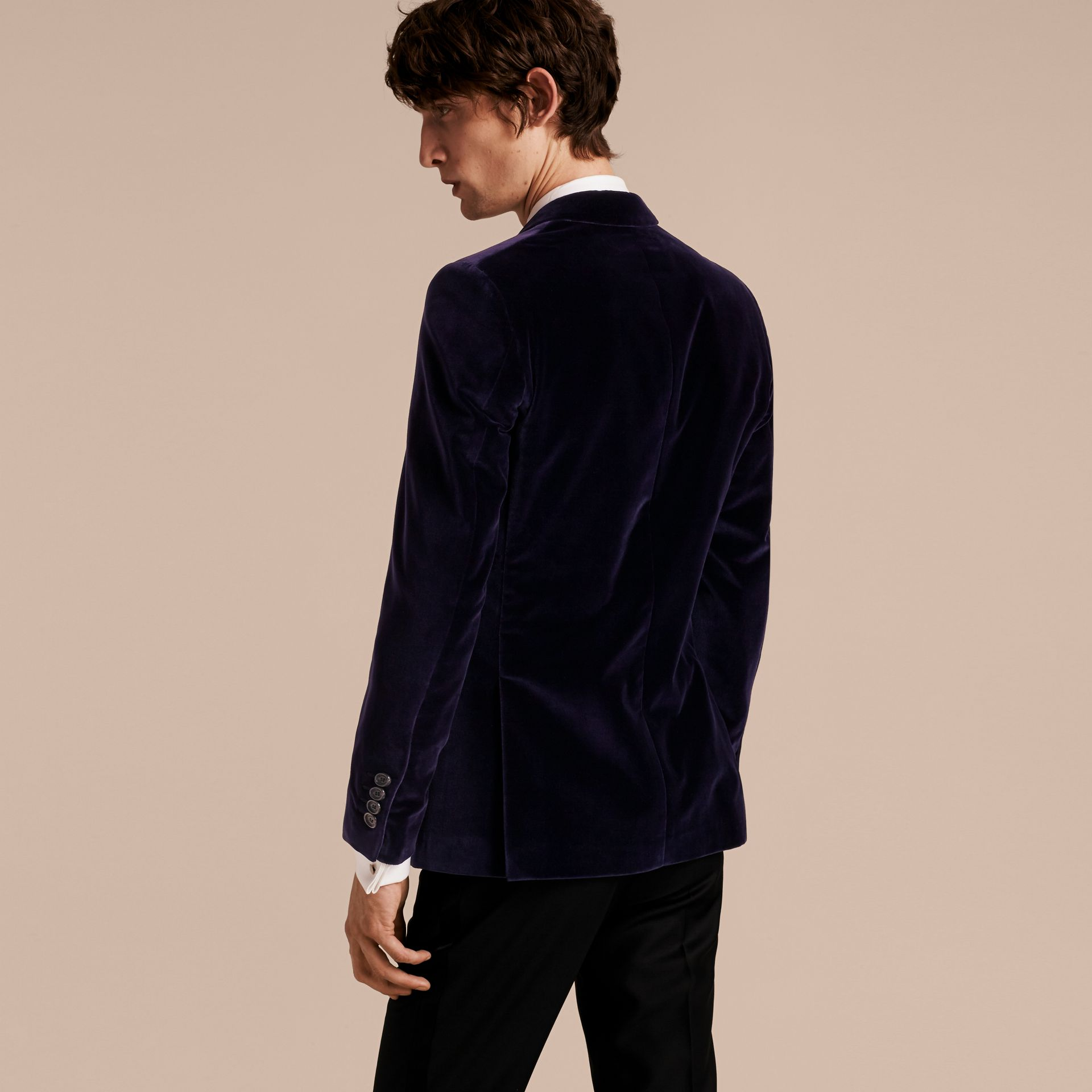 Black Slim Fit Tailored Velvet Jacket - gallery image 3