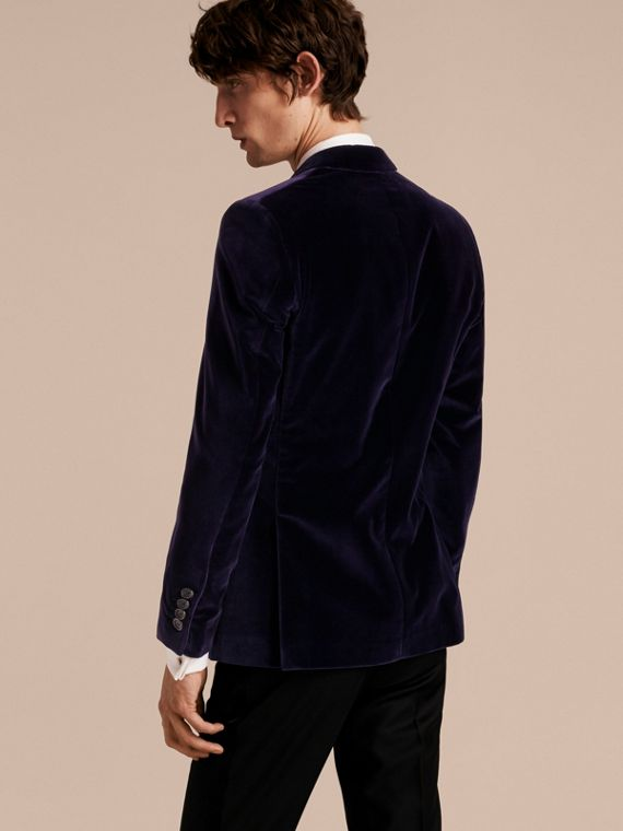 Indigo purple Slim Fit Tailored Velvet Jacket Indigo Purple - cell image 2