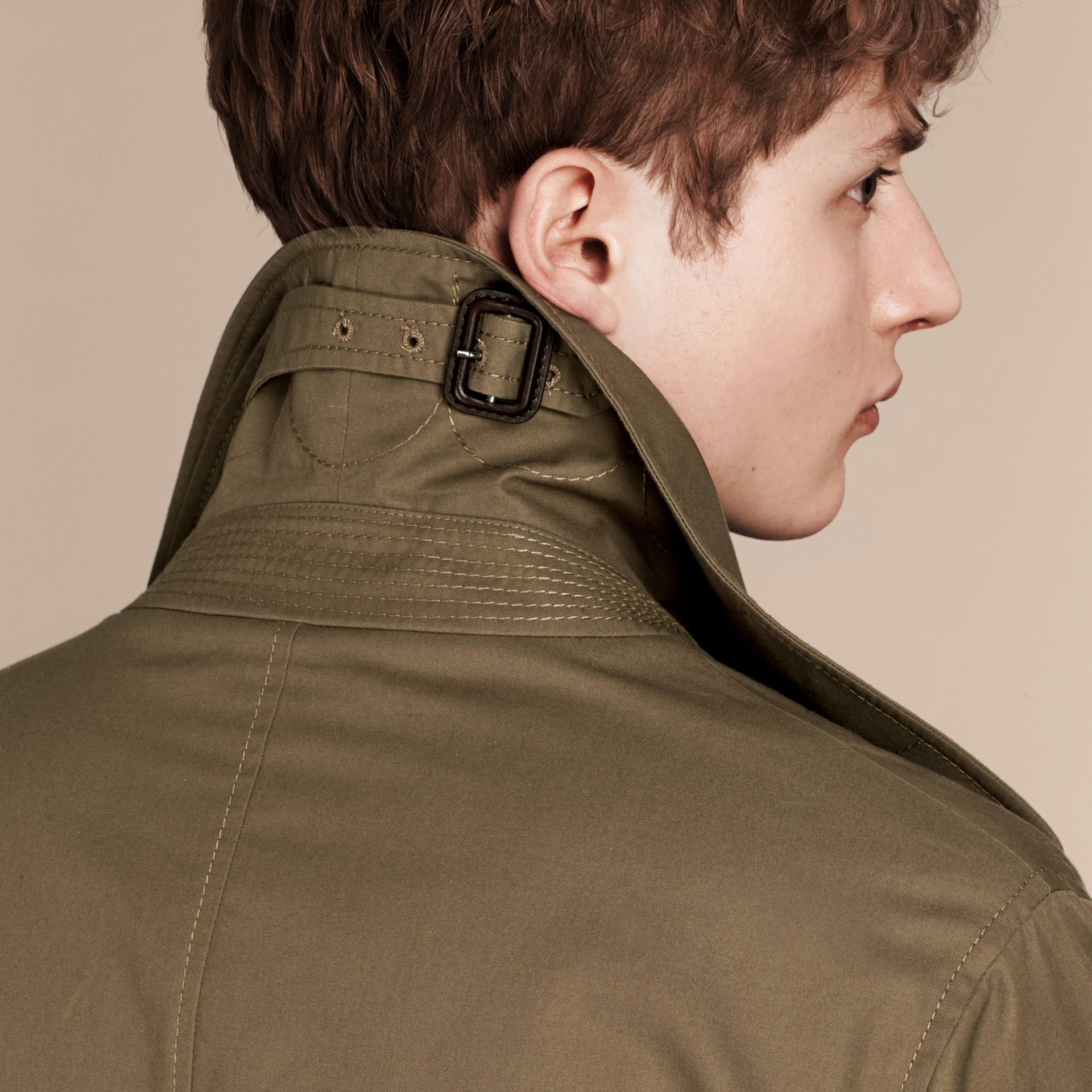 Military olive Cotton Gabardine Trench Coat - gallery image 5