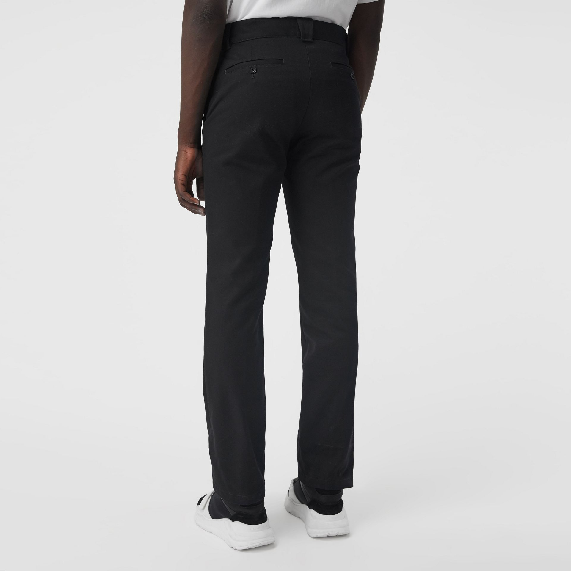 Technical Cotton Twill Trousers in Black - Men | Burberry - gallery image 2