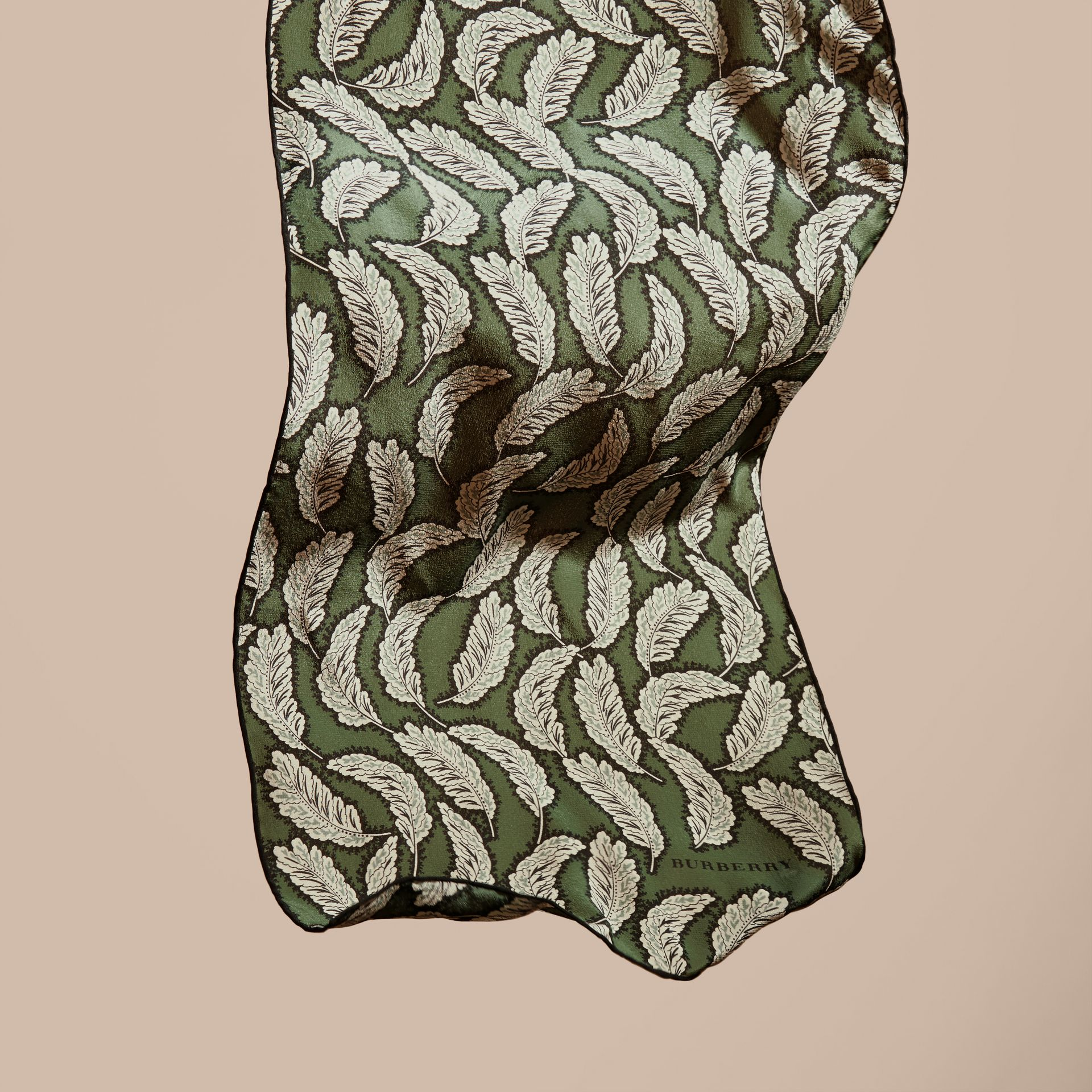Dusty green Leaf Print Silk Scarf Dusty Green - gallery image 4
