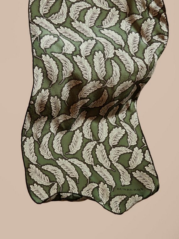 Dusty green Leaf Print Silk Scarf Dusty Green - cell image 3
