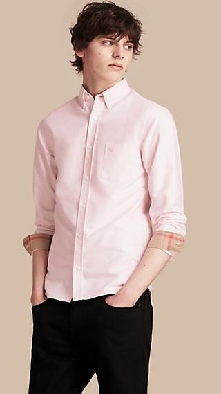 Camisa Oxford en algodón con detalles de checks