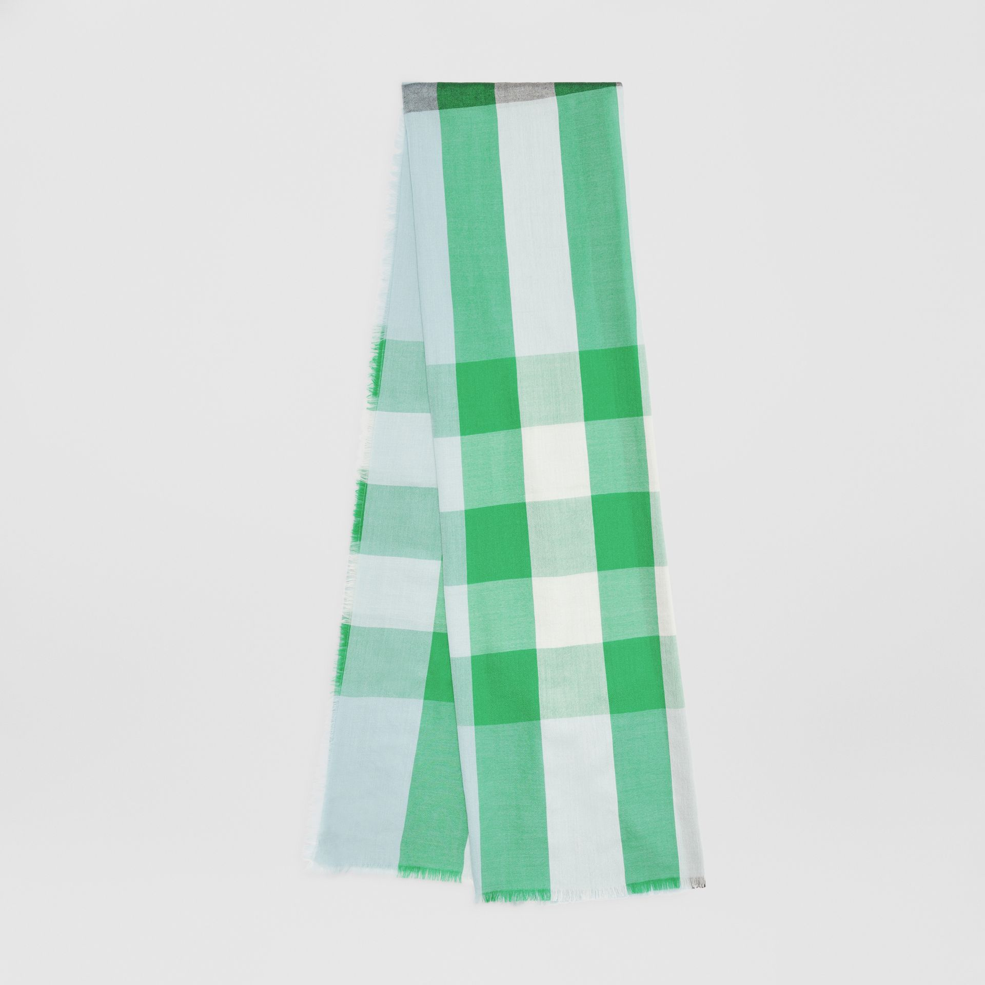 Lightweight Check Cashmere Scarf in Pale Peridot Blue | Burberry United States - gallery image 0