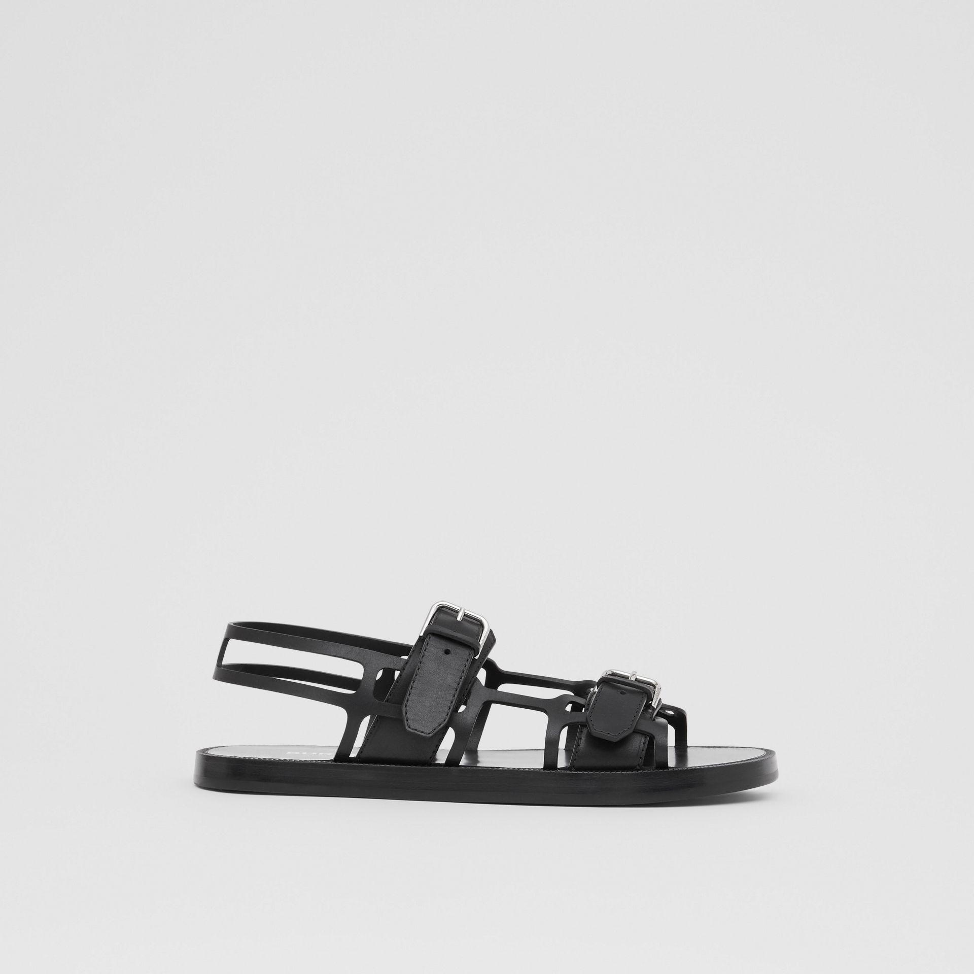 Leather Webb Sandals in Black | Burberry Australia - gallery image 5