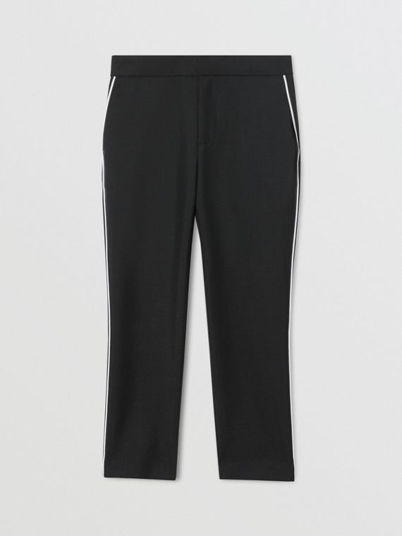 Piping Detail Wool Mohair Tailored Trousers in Black