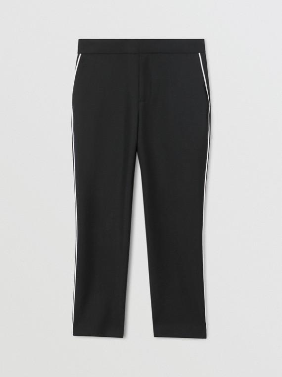Elegante Hose aus Wolle und Mohair mit Paspelierung (Schwarz)