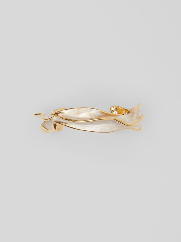 Enamel and Gold-plated Sculpted Cuff in Light - Women | Burberry - cell image 3