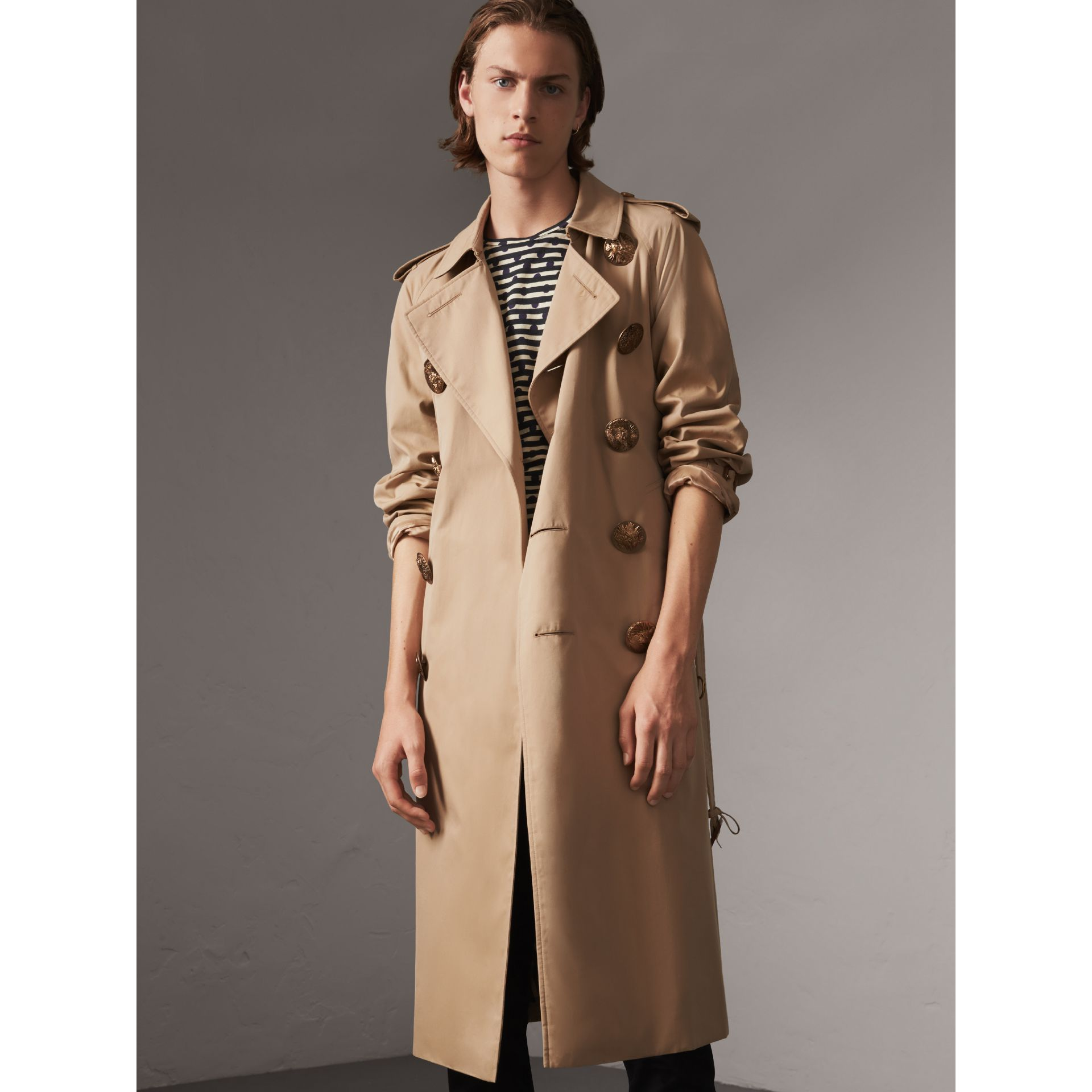 Bird Button Cotton Gabardine Trench Coat in Honey - Men | Burberry - gallery image 6