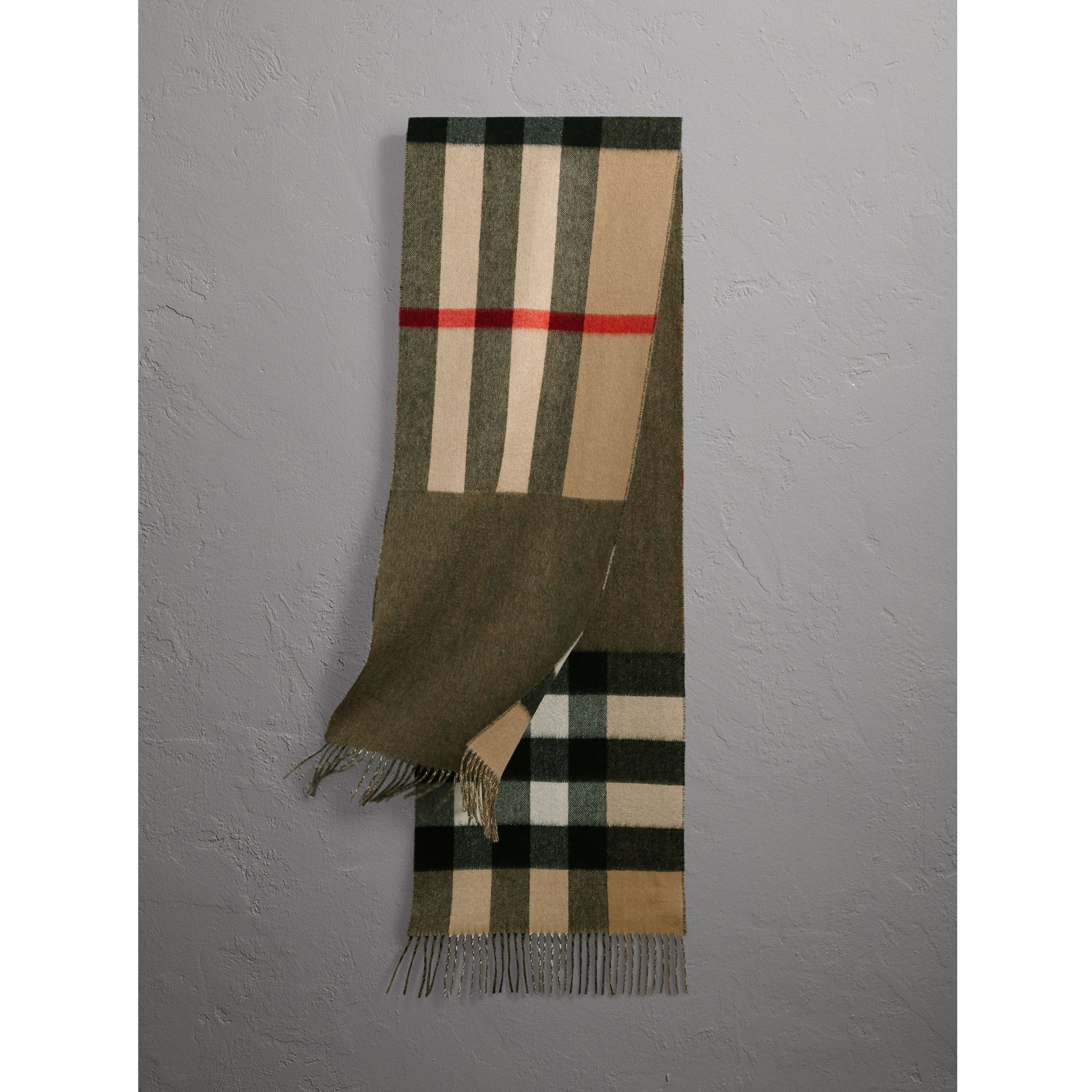 Reversible Check and Melange Cashmere Scarf in Camel | Burberry - gallery image 1