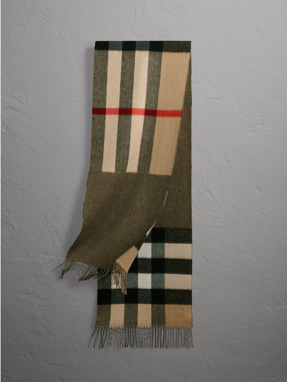 Reversible Check and Melange Cashmere Scarf in Camel