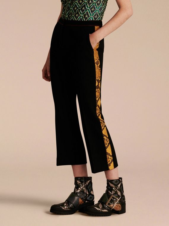 Python Print Trim Cropped Tailored Trousers