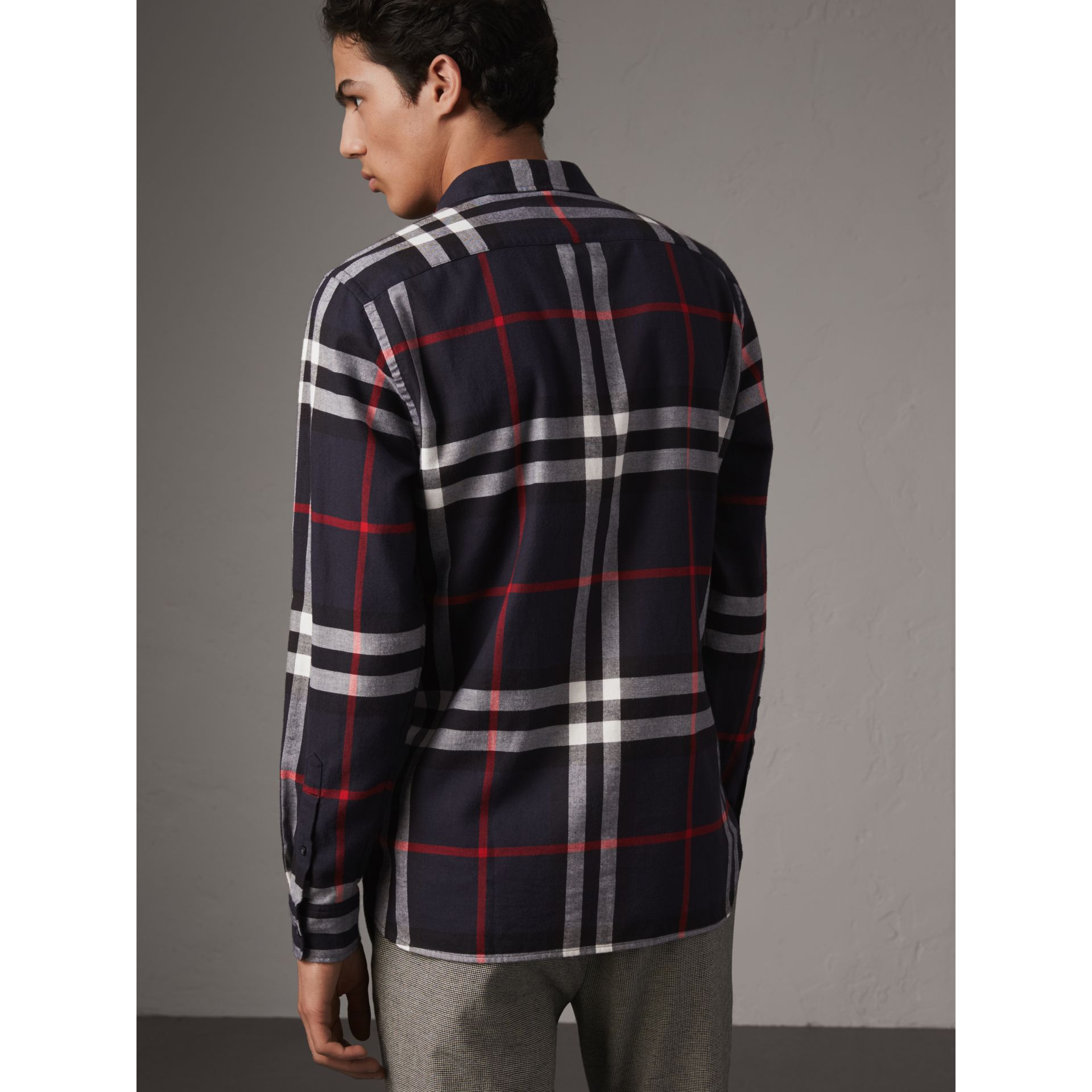 Check Cotton Flannel Shirt in Navy - Men | Burberry - gallery image 3