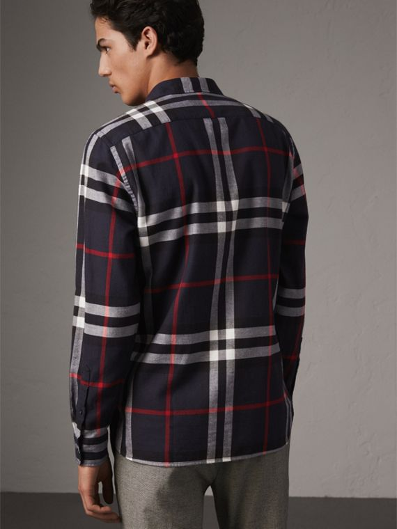 Check Cotton Flannel Shirt in Navy - Men | Burberry - cell image 2