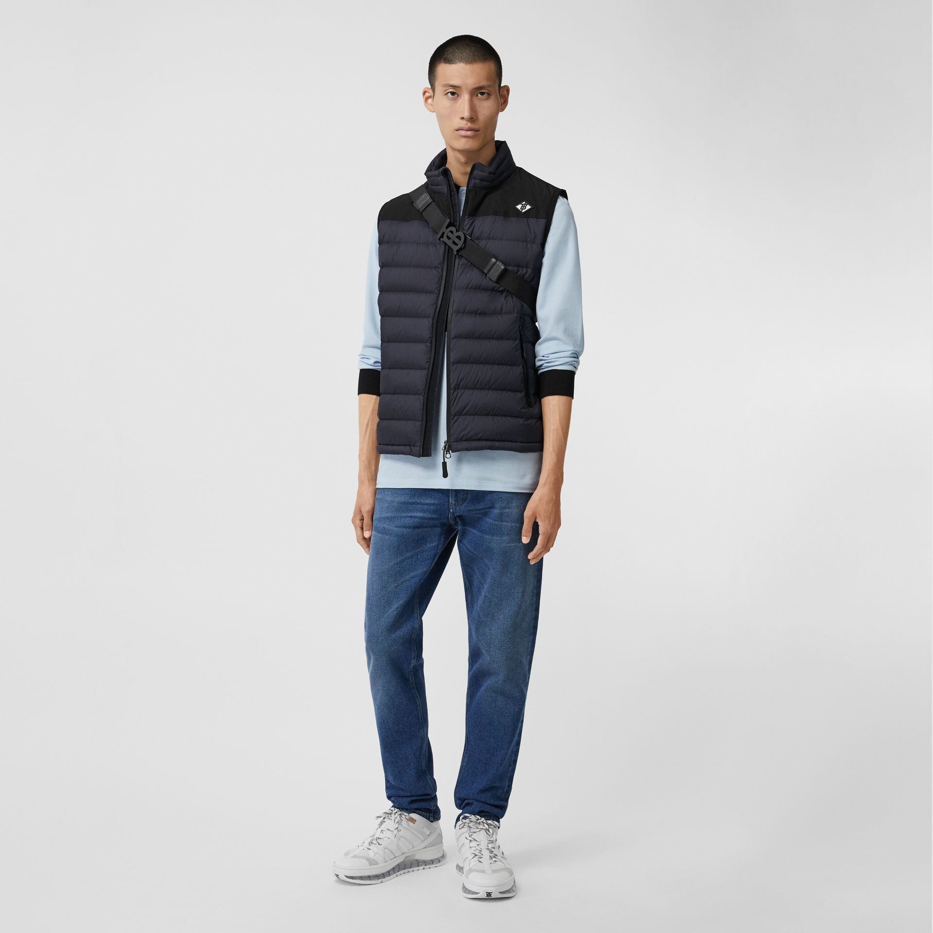 Logo Graphic Puffer Gilet in Navy - Men | Burberry - gallery image 0