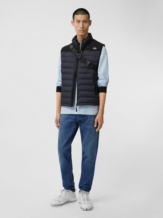 Logo Graphic Puffer Gilet in Navy