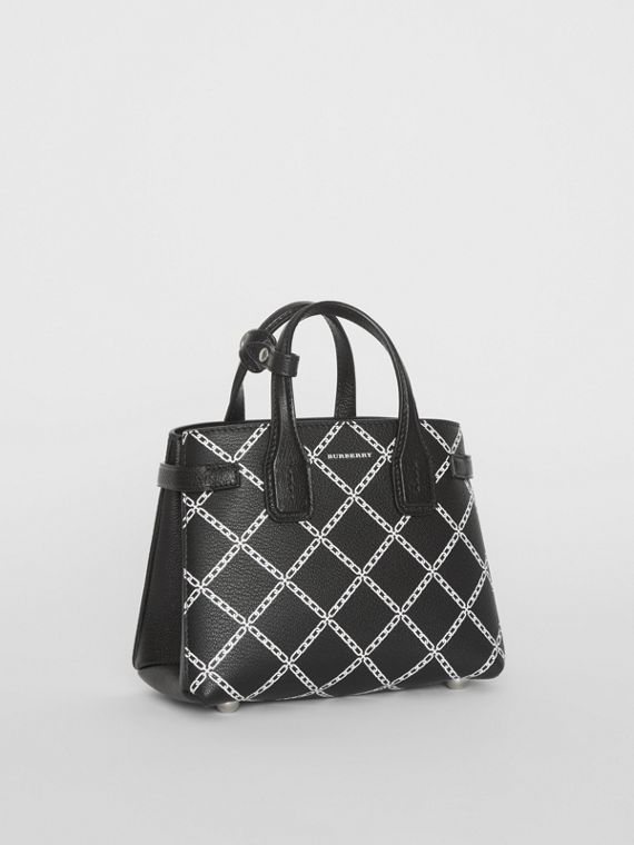 The Baby Banner in Link Print Leather in Black