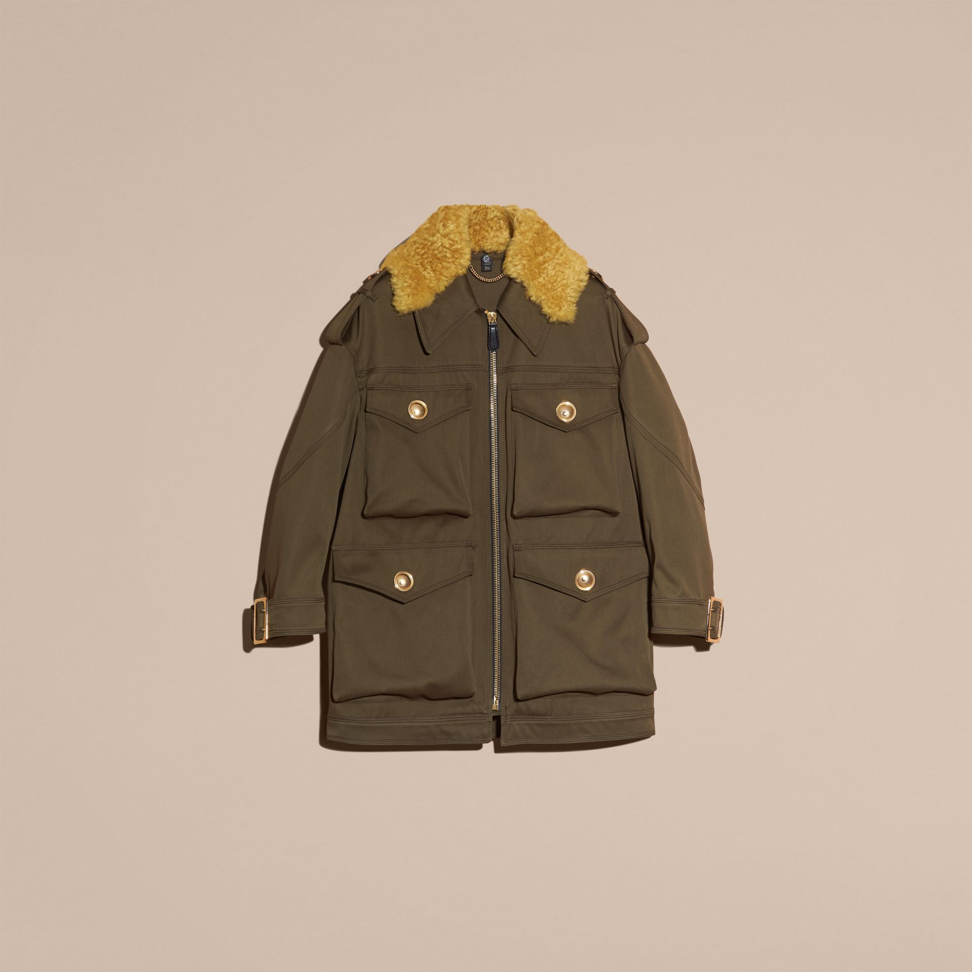 Military green Cotton Field Jacket With Shearling Collar - gallery image 4