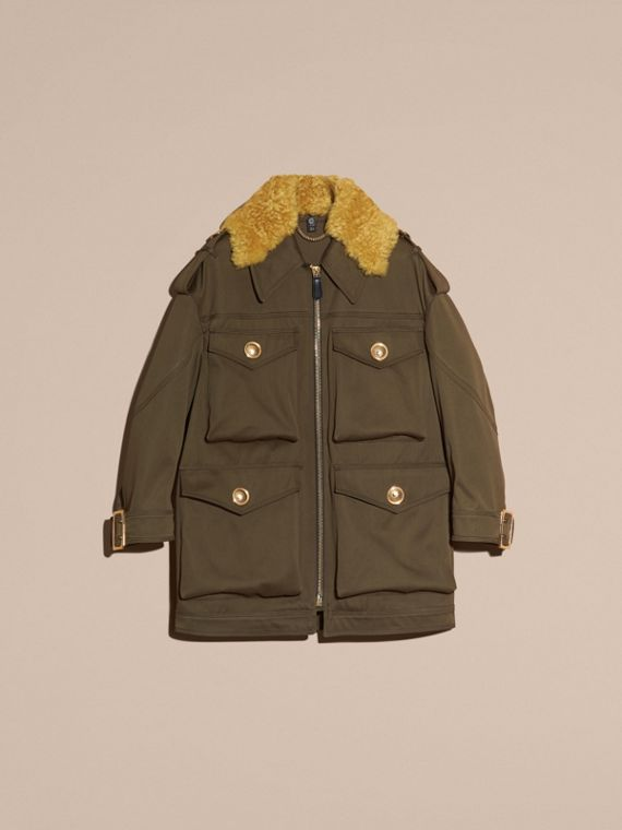 Military green Cotton Field Jacket With Shearling Collar - cell image 3