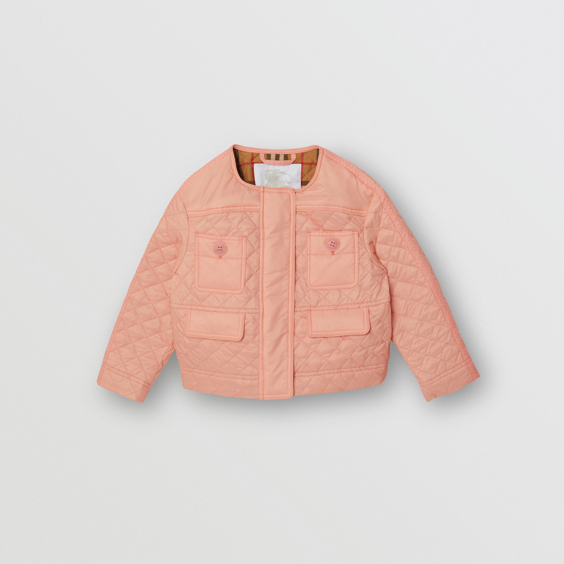 Lightweight Diamond Quilted Jacket in Apricot Pink - Children | Burberry - gallery image 0