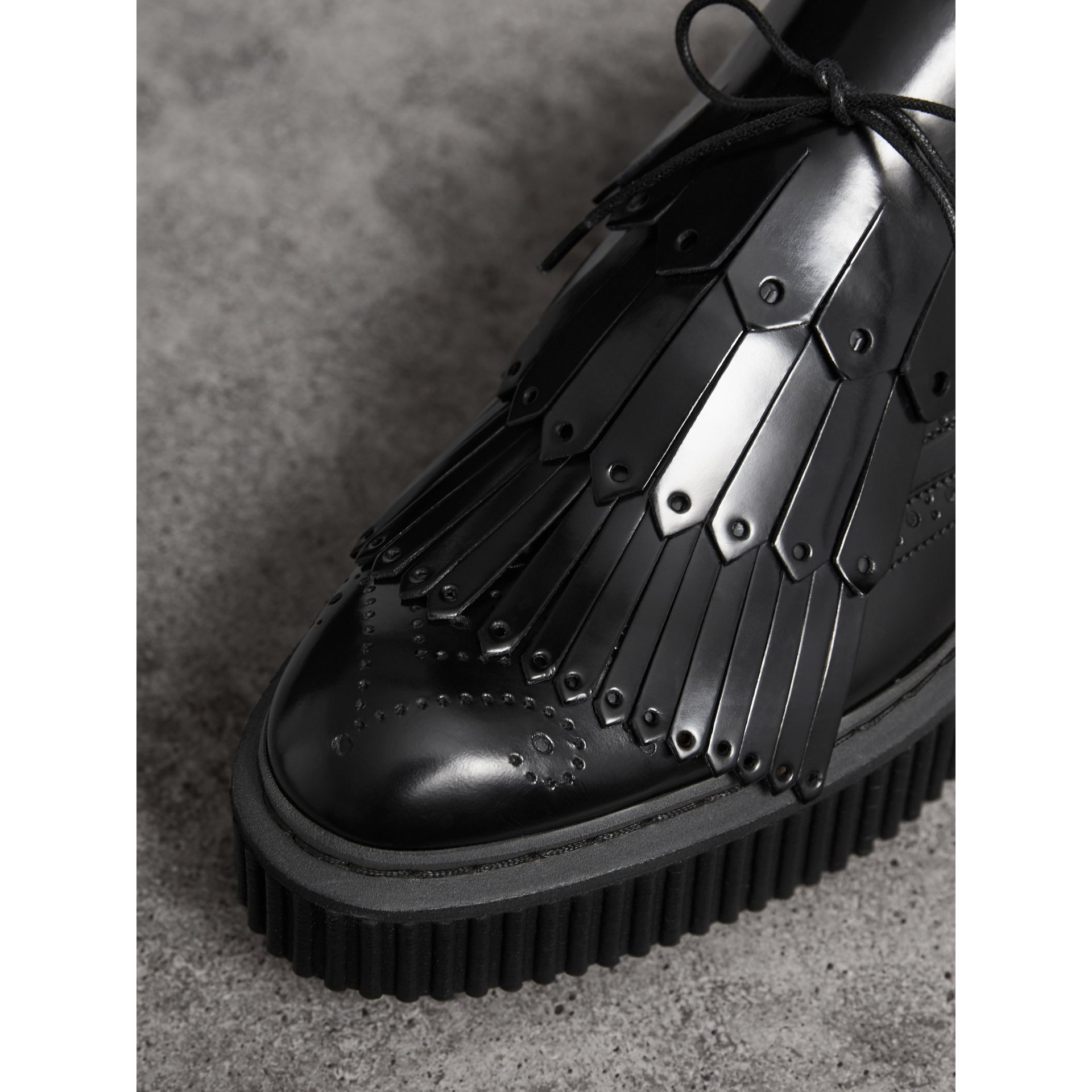 Lace-up Kiltie Fringe Leather Shoes in Black - Women | Burberry - gallery image 1