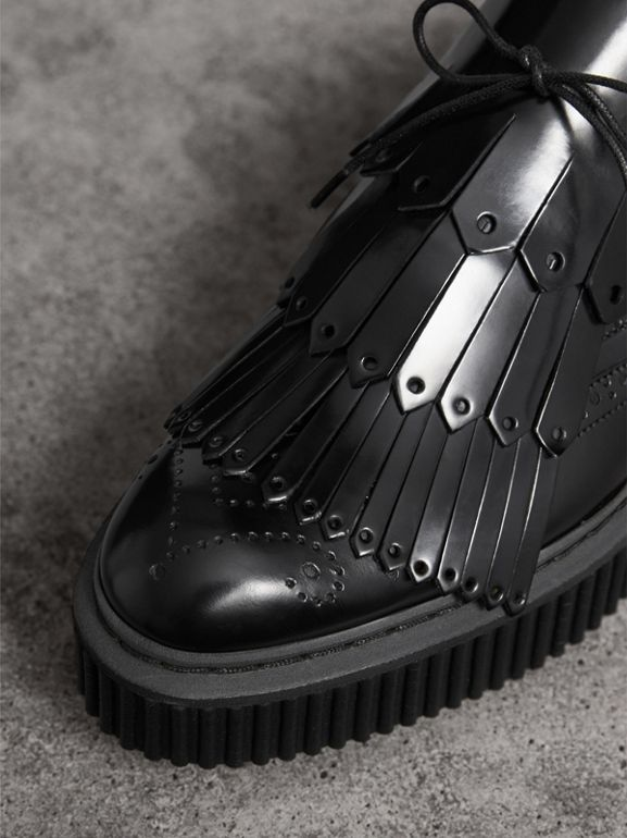 Lace-up Kiltie Fringe Leather Shoes in Black - Women | Burberry United Kingdom - cell image 1