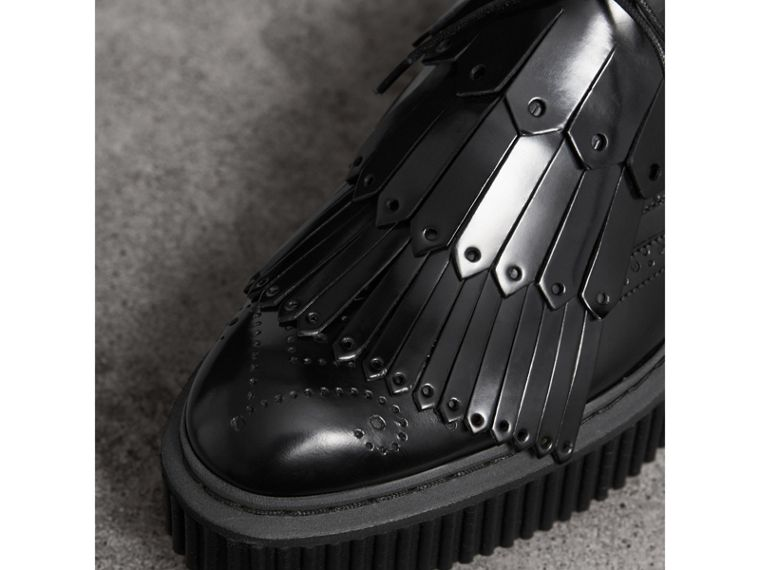 Lace-up Kiltie Fringe Leather Shoes in Black - Women | Burberry - cell image 1
